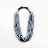 The print necklace - handmade in pearl grey jersey fabric and leopard fabric