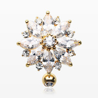 Golden Radiant Flower Multi-Gem Reverse Belly Button Ring