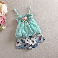Cute Baby Girls Lace Sleeveless Clothes Set Children Girl Tops Floral+Short Pants Outfits  Set