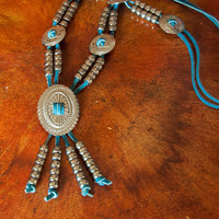 Squash Blossom Style Leather Concho Necklace | Silver Beaded Western Conchos and Blue Leather 80s 90s Grunge Southwestern Boho Chic Jewelry