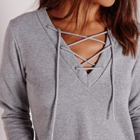 Missguided - Lace Up Sweater Grey