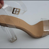 Vogue women transparent strappy pumps ankle strap pvc chunky heels clear sandals