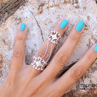 Gorgeous Statement  Ring -  Slave Ring  - Body Jewelry -  Unique Ring Set - Chain Connected Rings - Adjustable Rings