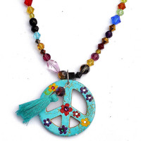 Peace Sign Beaded Necklace Painted Flowers Hippie Bohemian Jewelry FREE SHIPPING