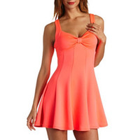 NEON BOW-FRONT PANELED SKATER DRESS