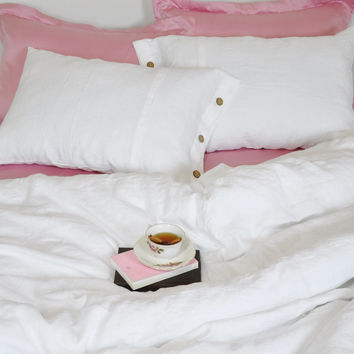 White Linen Duvet Cover for Queen, King, Full, Twin, Twin XL - White Linen Bedding with Coconut Buttons in Custom Size