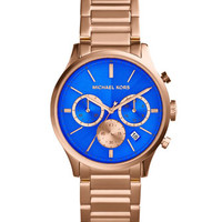 Michael Kors Mid-Size Rose Golden/Cobalt Stainless Steel Bailey Chronograph Watch