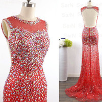 Mermaid Red Long Crystal Prom Dresses, Red Tulle with Crystal Prom Gown, Mermaid Luxury Formal Gown, Sexy Red Evening Gown
