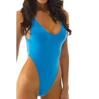 2017 High Cut Swimsuit Sexy backless bodysuit Thong One-piece Swimwear maillot Plunge Neck Monokini femme bathing suit