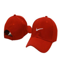 Red Nike Embroidered Unisex Adjustable Cotton Sports Cap Hat