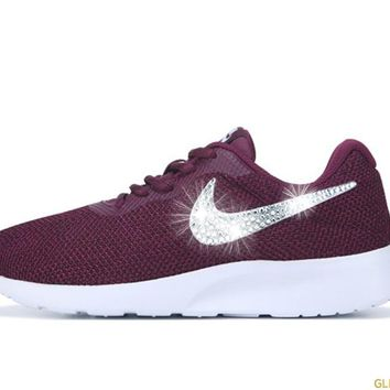 CLEARANCE - Women's Nike Tanjun + Crystals - Bordeaux and White - Size 6.5