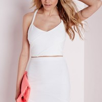 Missguided - Bandage Cross Over Crop Top White