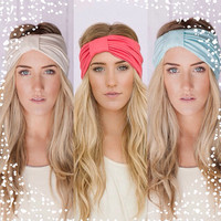 Holiday Value Set with 3 Turband Hair Wrap Headbands In Mint, Coral, Ivory(Hb103, Hb104, Hb105) or Gray, Black, Mocha (Hb167, Hb163, Hb164)