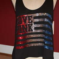 VICTORIAS SECRET BLING USA 4th OF JULY AMERICAN FLAG LOVE PINK CROP TANK TOP M