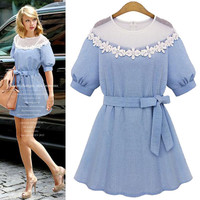 Light Blue Lace A-Line Sleeve Dress