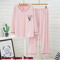 Victoria's Secret Popular Women Men Comfortable Embroidery V Collar Long Sleeve Pants Trousers Cameo Brown Pajamas I13438-1