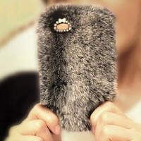Bling Winter Warm Furry Rabbit Fur Hard Cover Back Case For Iphone 5 5S