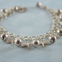 """Butterfly Anklet With Jingle Balls 925 Sterling Silver Chain Maille Bubble 8"""" Anklet Bracelet Butterfly Firefly Charms"""