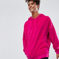 ASOS Oversized Velour Hoodie In Bright Pink at asos.com
