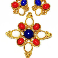 ON SALE Vintage Sarah Coventry Brooch and Earrings Set, Americana, Red,White and Blue in Goldtone 1972