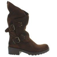 Coolway Alida - Brown Suede Slouchy Dual Buckle Boot
