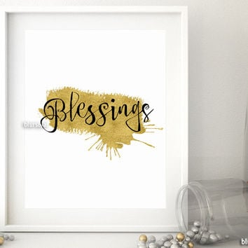 Blessings quote printable featuring a gold paint stroke