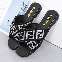 FENDI Summer Hot Sale Women Flats Beach Sandals Slippers Shoes Black(Silvery Letter)