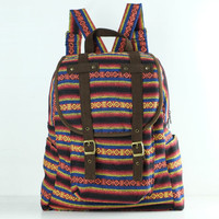 Woven Textile Backpack Diaper Bag, Student/ Travel/ College/ Teen/ Native Tribes (Brown Trim)