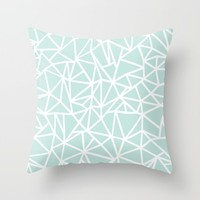 Ab Outline Thick Mint Throw Pillow by Project M