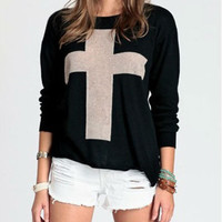 Winter Casual Long Raglan Sleeve Pullover Women Sweater Tricotado Cross Printed Pattern Knitted Crew Neck Jumper Pullovers