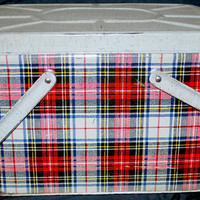 metal picnic basket , red plaid colors , food storage , vintage lunch box , outdoors and camping