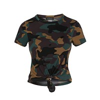 Casual Round Neck Short Sleeve Camo Print Crop Top With Front Tie Detail (CLEARANCE)
