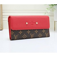 LV Louis Vuitton Newest Fashion Women Leather Wallet Purse Red