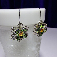 Green and Yellow Rhinestone Drop Earrings, Valentines Mothers Day, LAST PAIR, Mom Sister Grandmother Bridesmaid Jewelry, Cocktail, Pretty