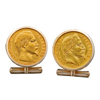 French Gold Napoleon III Coin Cufflinks, 19th century