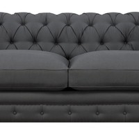 Oxford Chesterfield Style Grey Linen Sofa