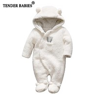 Tender Babies born baby clothes bear baby girl boy rompers hooded plush jumpsuit winter overalls for kids roupa menina