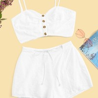 Knot Back Striped Crop Cami Top & Belted Shorts Set