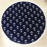 Anchor Print Nautical Large Round Beach Towel Navy