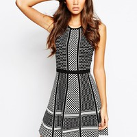 BCBGMAXAZRIA Fit and Flare Dress in Knitted Check Jacquard