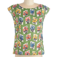 Emily and Fin Mid-length Cap Sleeves Whimsy and Wonder Top in Floral