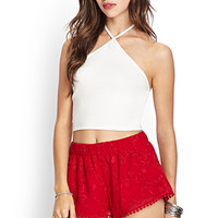 FOREVER 21 Embroidered Floral Shorts Red