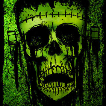 Monster's Lament Frankenstein stretched canvas print