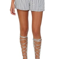 Black & White Stripe Flowy Shorts at Blush Boutique Miami - ShopBlush.com