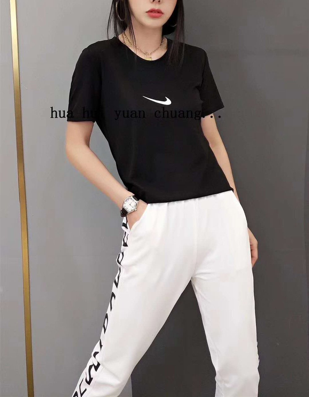 """Image of """"NIKE"""" Woman Leisure Fashion Letter Personality Printing Crew Neck Short  Sleeve Tops Trousers Two-Piece Set Casual Wear Sportswear"""