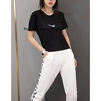 """""""NIKE"""" Woman Leisure Fashion Letter Personality Printing Crew Neck Short  Sleeve Tops Trousers Two-Piece Set Casual Wear Sportswear"""