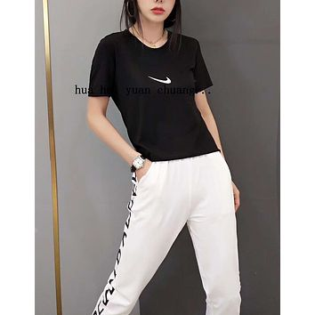 """NIKE"" Woman Leisure Fashion Letter Personality Printing Crew Neck Short  Sleeve Tops Trousers Two-Piece Set Casual Wear Sportswear"