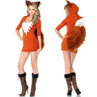 Halloween Costumes Sexy Fox Uniform  Cosplay Animal Fox Role Play Dress Funny Cute Masquerade Clothes