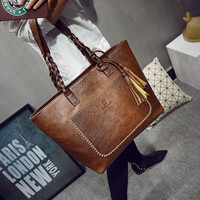 2016 PU Leather Handbag Bolsas Mujer Vintage Designer Tassel Shoulder Bags Large Women Bag Shopping Tote Bags sac a main L1077