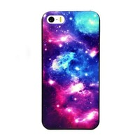 Aokdis New Hot Selling Fashional Individualized Hard Back Case for Iphone 5 5g 5s (Red and Blue Galaxy Pattern)